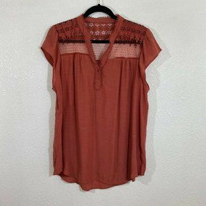 Brown lace button down boho style top